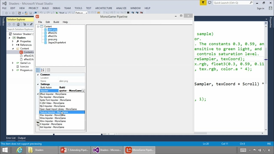 Advanced MonoGame for Windows Phone and Windows Store Games: (03) Extending  the Content Pipeline