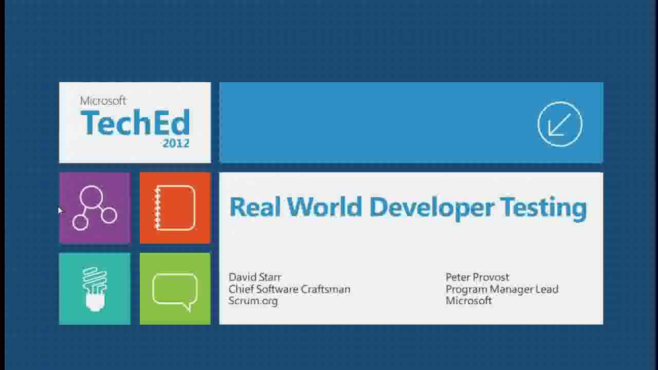 Real World Developer Testing with Visual Studio 2012