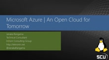 Microsoft Azure - An Open Cloud for tomorrow
