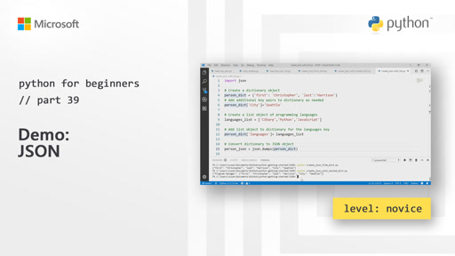 Python for Beginners [39 of 44] Demo: JSON