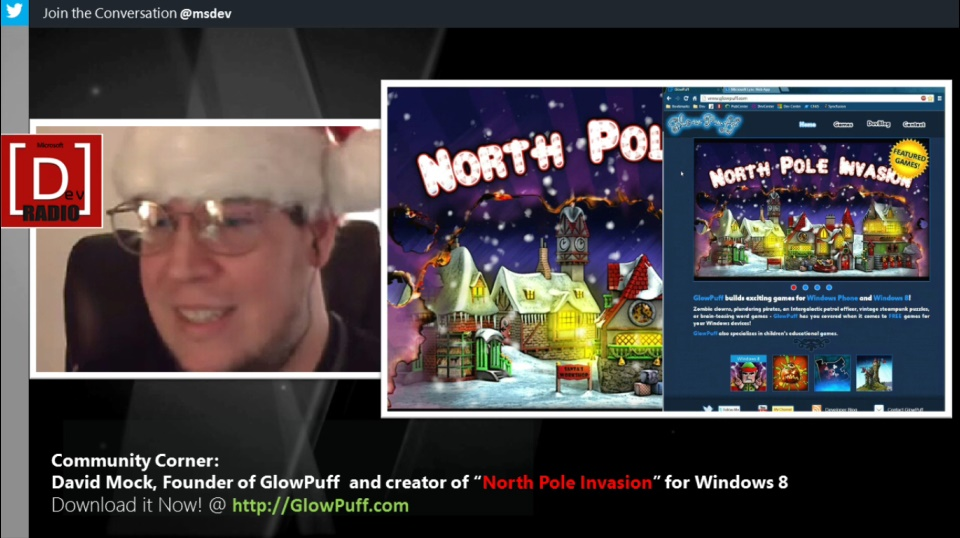 "Microsoft DevRadio: Community Corner - David Mock creator of ""North Pole Invasion"" for Windows 8"