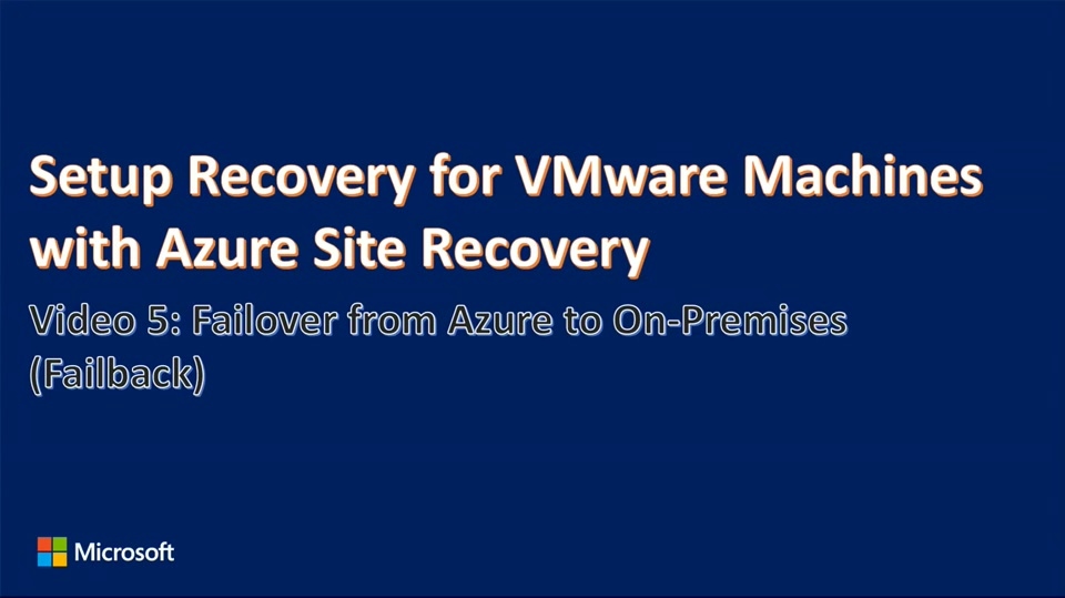 Enhanced VMware to Azure Failback