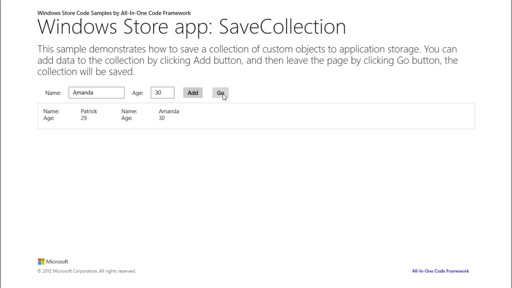 How to save a data collection to app storage in Windows Store apps