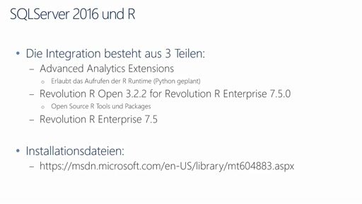 SQLServer 2016 CTP3 in 15 Minuten – R Integration