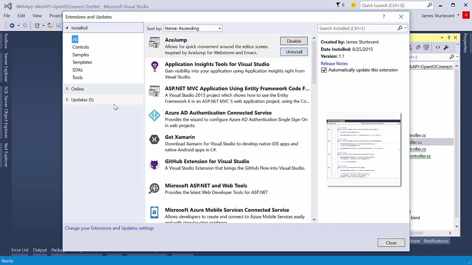 Installing and Using Visual Studio 2015 Extensions