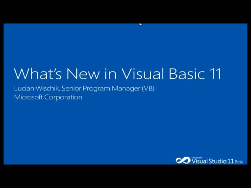 Lucian Wischik: What's New in VB11