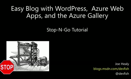 WordPress in Azure - Up and Running in Ten Minutes - Stop and Go Tutorial