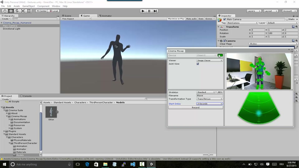 DIY motion capture with Kinect 2, Unity and Cinema MoCap