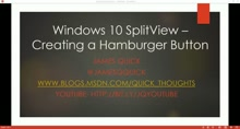 """Quick Tips"" with Windows 10 -  SplitView Hamburger Button"