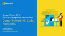 Demo: PowerShell Script Runbook Support in Service Management Automation (SMA)