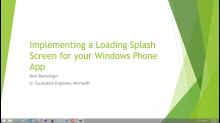 Implementing a Loading Splash Screen for your Windows Phone App