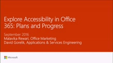 Explore accessibility in Office 365: plans and progress
