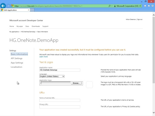 Getting a Client ID to use with the OneNote API