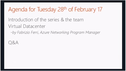 February - Virtual Datacenter approach