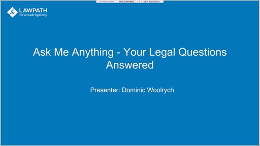 "LawPath ""Ask Me Anything"" webinar - your legal questions answered"