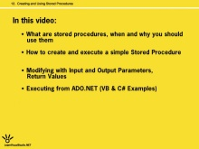 Creating and Using Stored Procedures
