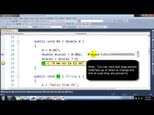 Working with DataTips in Visual Studio 2010