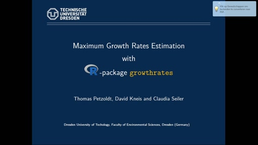 Maximum growth rate estimation with **growthrates**
