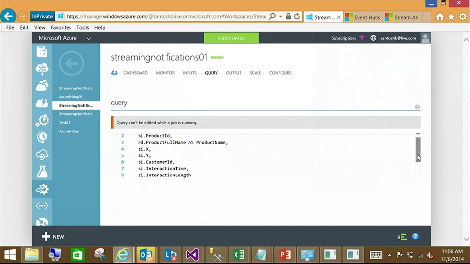 Azure Stream Analytics - Live dashboard and Notifications with Santosh Balasubramanian
