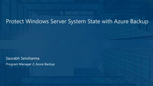 Protect Windows Server System State with Azure Backup