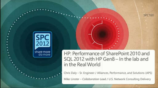 HP: Performance of SharePoint 2010 and SQL 2012 with HP Gen8 – In the lab and in the Real World