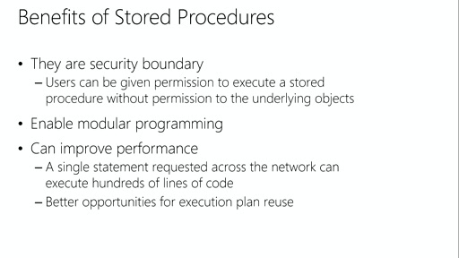 Developing Microsoft SQL Server Databases: (03) Implementing Stored Procedures and Functions