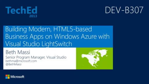 Building Modern, HTML5-Based Business Apps on Windows Azure with Microsoft Visual Studio LightSwitch (repeated from 6/4 at 1:30)