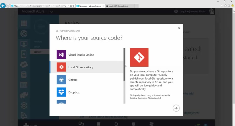 """Quick Tips"" with Azure - Publish Website From Git"