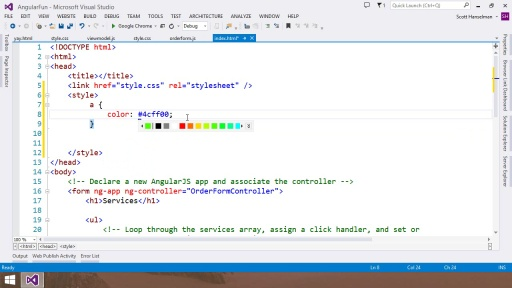 Visual Studio 2013 Web Editor Features - HTML5