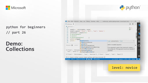 Python for Beginners [26 of 44] Demo: Collections