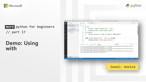 Demo: Using with | More Python for Beginners [17 of 20]