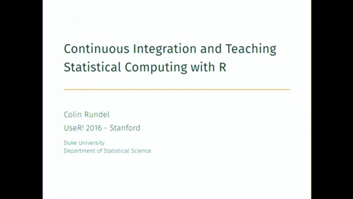 Continuous Integration and Teaching Statistical Computing with R