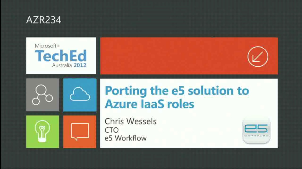 Porting the e5 solution to Azure IaaS roles