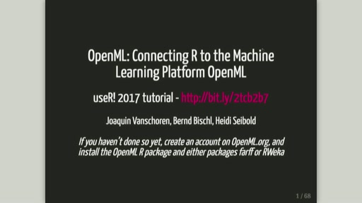 OpenML: Connecting R to the Machine Learning Platform OpenML