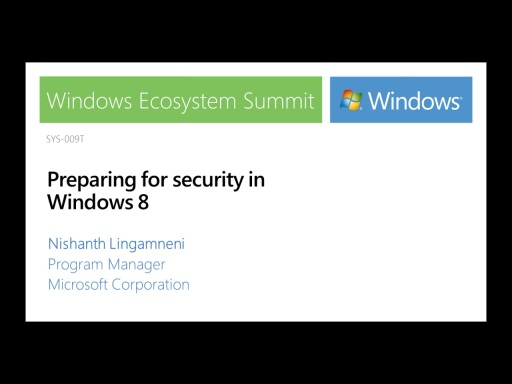Preparing for Security in Windows 8