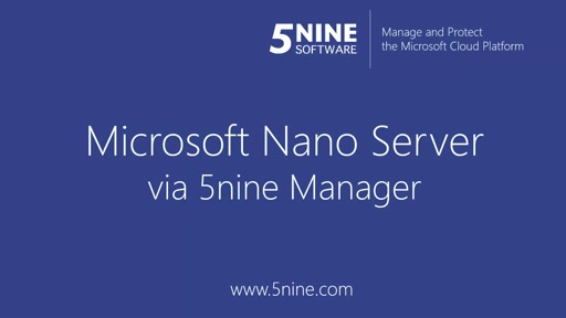 5Nine Manager and Nano Server