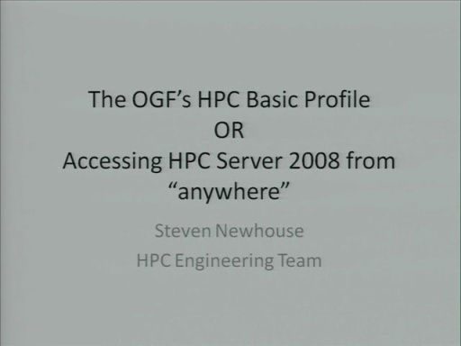 New OGF Web Service Interface with Windows HPC Server 2008