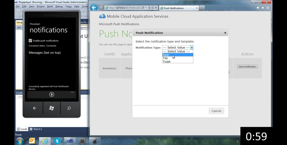 Windows Phone Push Notifications and Windows Azure