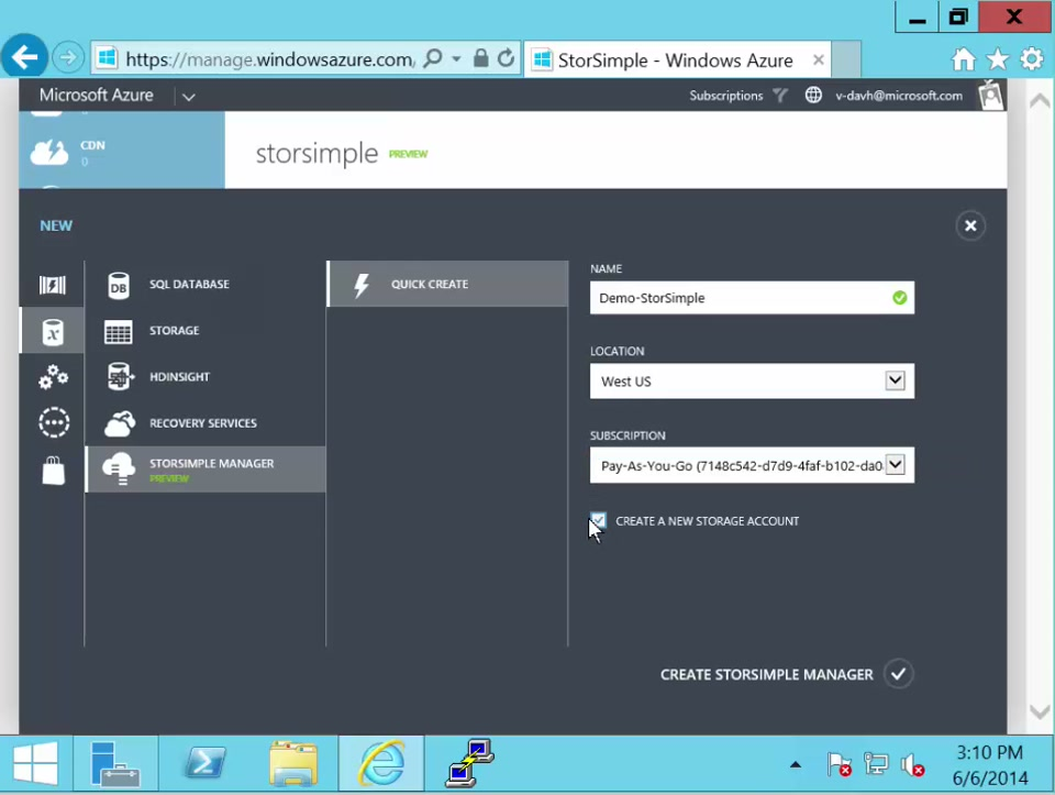 StorSimple: Create a StorSimple Manager service and get the service registration key