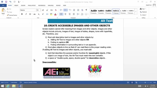 (Part 9) Creating Accessibility Documents: Alt Text