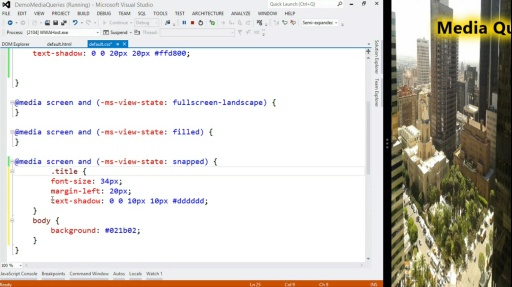 Microsoft DevRadio: Developing for Windows 8 in 1/2 the Time (Part 8) Using Media Queries to Manage Your Layouts
