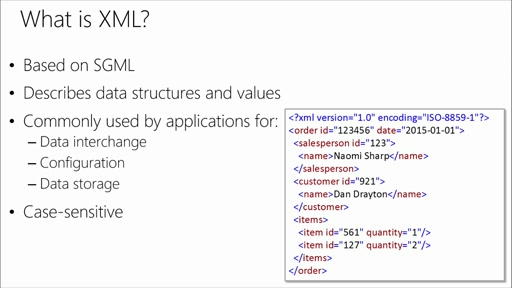 Using XML in SQL Server and Azure SQL Database: (01) Introduction to XML Data