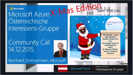Azure Community Call - X-Mas Edition - Dezember 2015