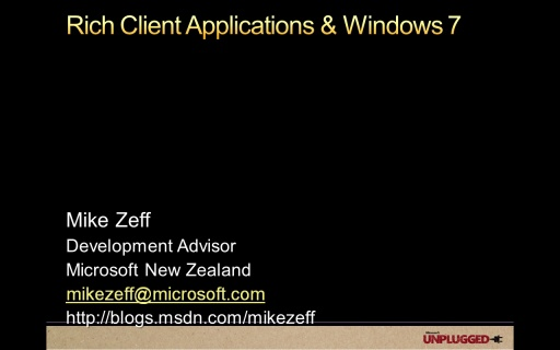 Rich Client Applications and Windows 7 for Developers
