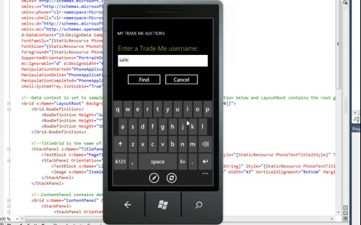Sample Windows Phone 7 Application for Trade Me