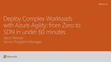 Deploy complex workloads with Azure Agility - from zero to SDN in 60 minutes