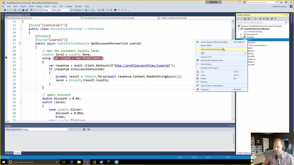 Kubernetes development with the Visual Studio connected environment