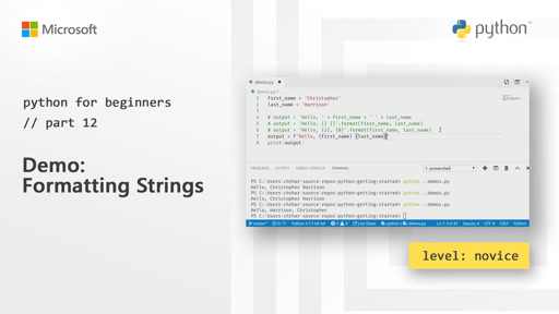 Python for Beginners [12 of 44] Demo: Formatting Strings