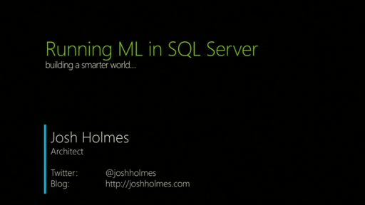 Running ML in SQL Server