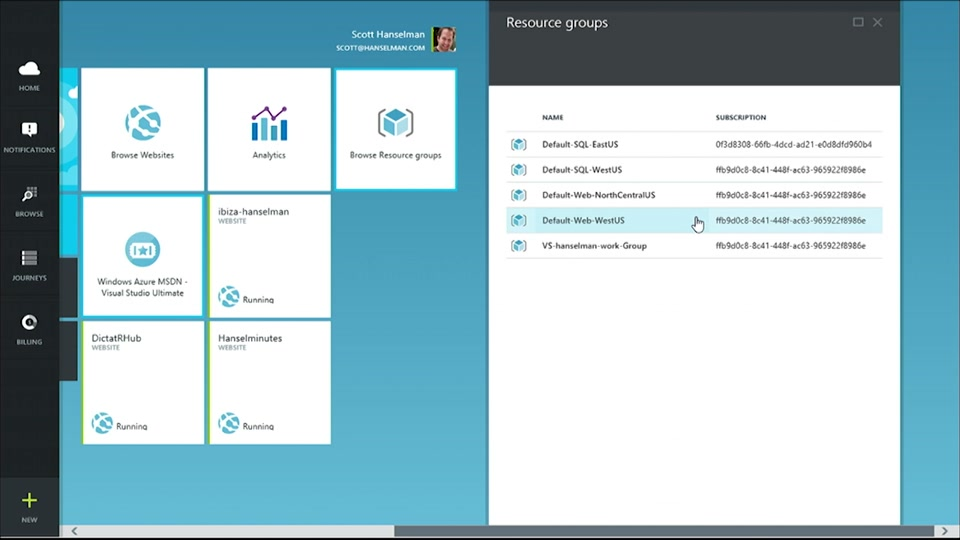 Exploring Resource Manager in the new Azure Portal